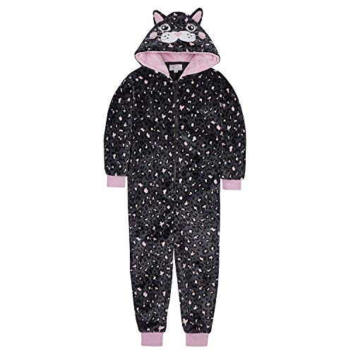 Girls All in One Novelty Sleepsuit in Gorgeous Black Cat Design Soft Luxurious Fleece 2-13 Years (13 Years)