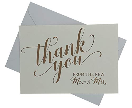 Wedding Thank You Cards - Elegantly Foil Stamped Rose Gold - 36 Cards Including Envelopes - Perfect For Showing Appreciation to Friends & Family]()