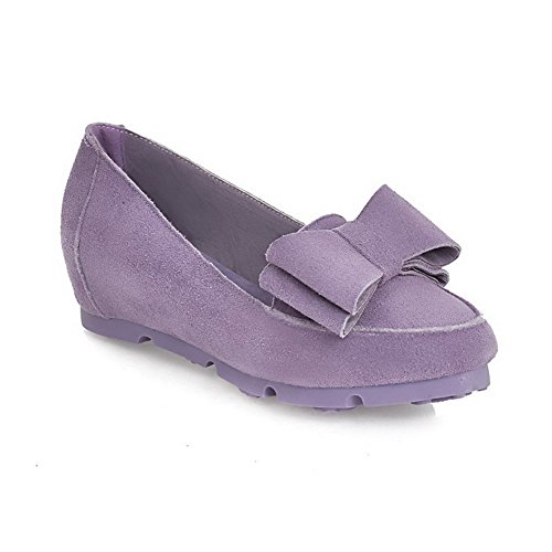 Amoonyfashion Donna Tinta Unita In Pelle Scamosciata Tacco Basso Tacco A Punta Chiusa Scarpe-scarpe Viola