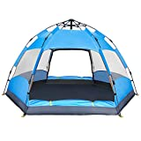 BATTOP 4 Person Tent [Double-Uses] Instant Pop Up Family Camping Tent - Double Layer - Waterproof - 4 Season Backpacking Tent (Blue)