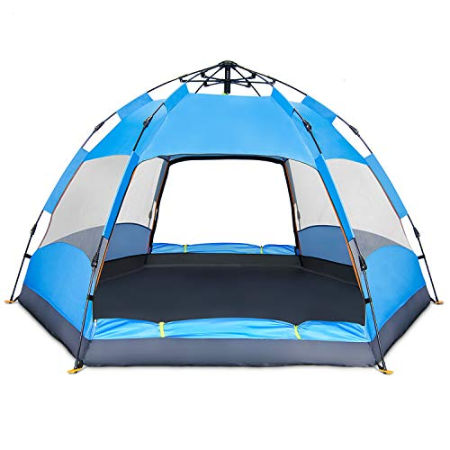 BATTOP 4 Person Tent [Double-Uses] Instant Pop Up Family Camping Tent – Double Layer – Waterproof – 4 Season Backpacking Tent (Blue)