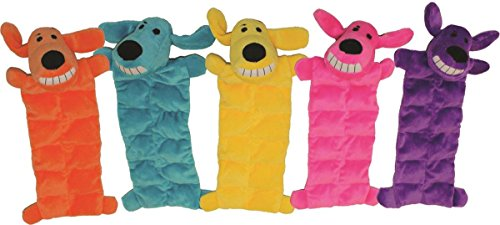 Multipet 12-Inch Squeaker Mat Soft Plush Dog Toy with 13 Squeakers, Colors may vary