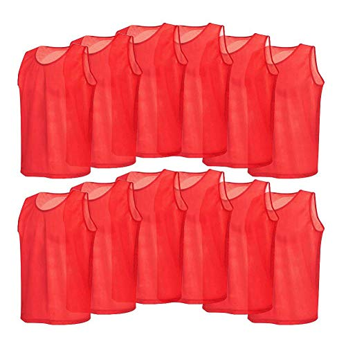 12 Pack Mesh Scrimmage Training Vests Football Vest Breathable Adults Jerseys Bibs for Volleyball Soccer Basketball (Color : Red) (Football Mesh Vest)