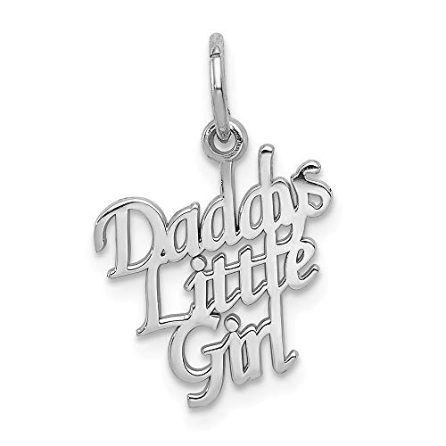 14k White Gold Daddys Little Girl Pendant Charm Necklace Fine Jewelry Gifts For Women For Her