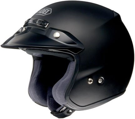 Shoei RJ Platinum-R Metallic Open Face Motorcycle Helmets - Matte Black - Large