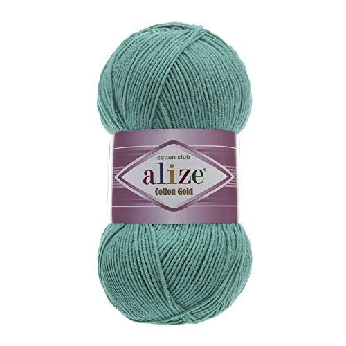 - 55% Cotton 45% Acrylic Yarn Alize Cotton Gold Thread Crochet Hand Knitting Art Lot of 4skn 400 gr 1444 yds Color 610 Jade