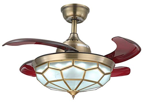 NOXARTE 36 Inch Promote Natural Ventilation Antique Brass Glass Shade Invisible Fan LED Dimmable (Warm/Daylight/Cool White) Chandelier Ceiling Fan with Lights Retractable Fan Fandelier with Remote