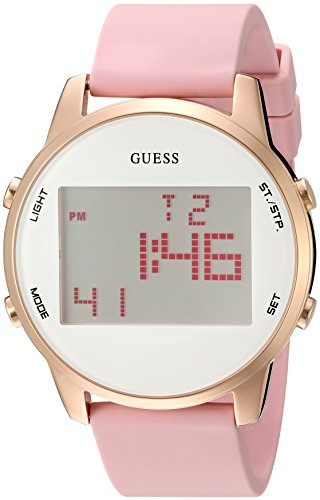 GUESS Men's U0815L2 Trendy Rose Gold-Tone Stainless Steel Watch with Digital Dial and Pink Strap Buckle