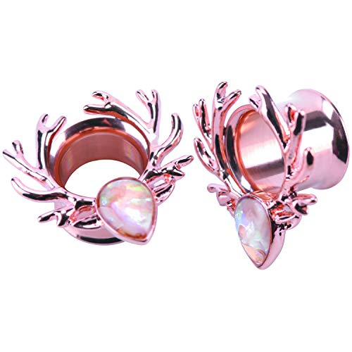 WBRWP 2pcs Rosegold Stainless Steel Ear Plugs and Tunnels - Ear Expander Ear Gauges Stretcher Body Piercing Jewelry 00g(10mm)