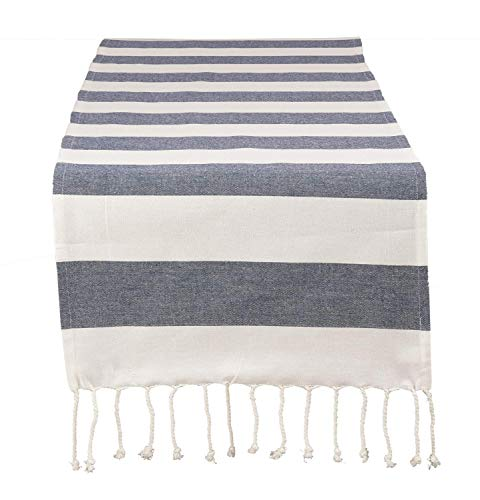 Fennco Styles Cabana Collection Nautical Striped Tassel 100% Pure Cotton 16 x72 Inch Table Runner - Navy Blue Table Runner for Wedding Banquets, Family Dinner, Special Events and Home Décor
