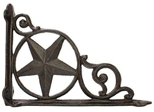 Decorative Antique Shelf Brace L Bracket Rustic Star Rust Brown Cast Iron Brace Corner Decoration Americana Farmhouse Decor - Corner Brace Iron Star Cast
