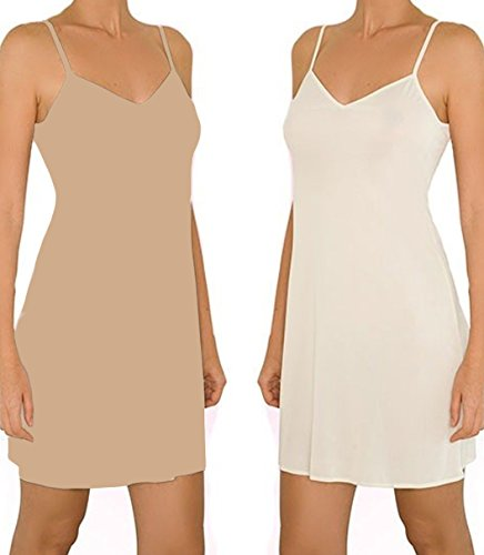 Anemone Women's Non-Cling Silky Smooth Full Slip (Small, 2PK- Beige & Ivory)