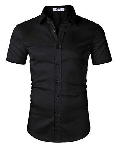 Mens Jacket Bamboo - MrWonder Men's Bamboo Fiber Dress Shirt Elastic Casual Slim Fit Solid Long Sleeve Button Down Shirts (M, Short Black)