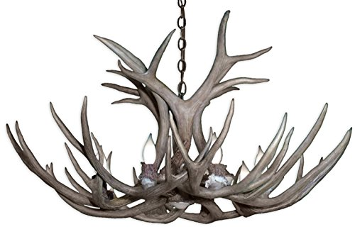 Real Antler Mule Deer Single Tier Chandelier Light (Large Chandelier Light Fixture)