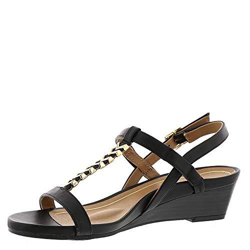 Cali Vionic Port Leather Womens Sandals Black 7E6qOfwE
