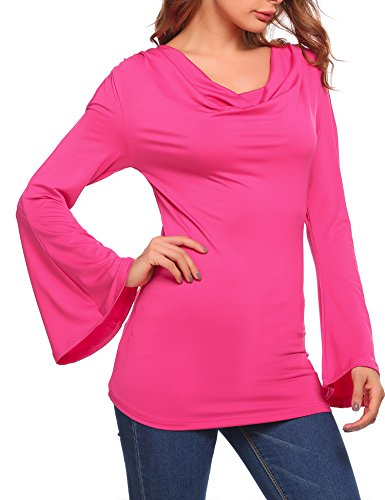 Cosbeauty Women's Casual Cutout Shoulder Cowl Neck Plain Bell Sleeve Blouse Tops,Rose Red,Large ()