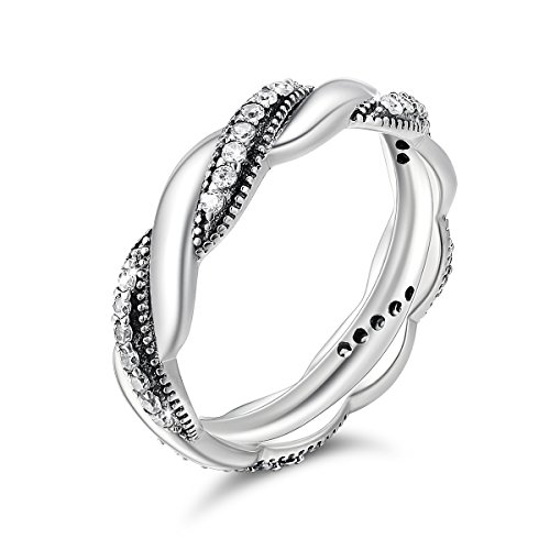 Eternity Wedding Band Rings 925 Sterling Silver CZ Twisted Band Rings Promise Statement Rings for Women (Pave Band Twisted)