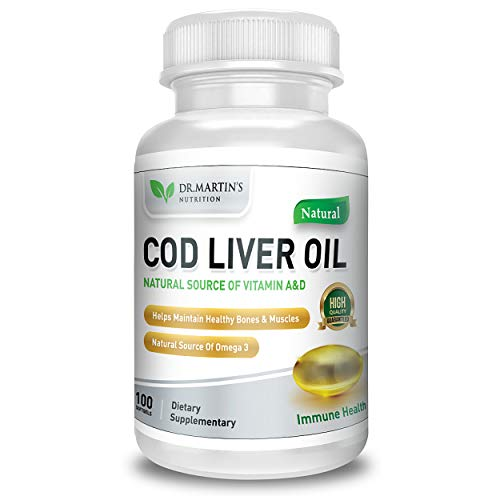 COD LIVER OIL | 100 Softgels | Natural Source Of Omega 3 Fatty Acids | 100% Organic Capsules | Triple Strength | Best Immune Health, Healthy Bones & Muscles Dietary Supplement | Dr. Martin's Nutririon