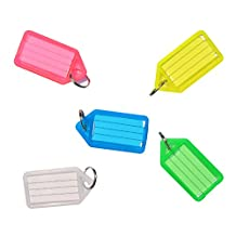 Pawfly 15 PCS Key ID Label Tags Colorful Keychain Keyring Holder Tags with Label Window, 5 Assorted Colors