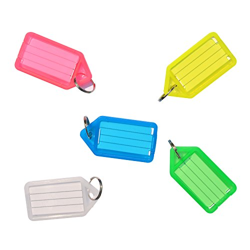 (Uniclife 20 PCS Key ID Label Tags Color Keyring Holder Tags with Label Window, Assorted Colors)