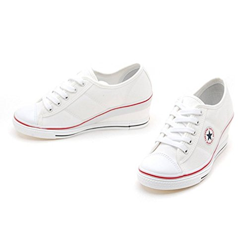 EpicStep Womens Canvas Shoes Lace Up Fashion Sneakers Platform Wedges White ZWZoM4e