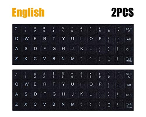 2PCS Pack Universal English Keyboard Stickers, Typing Keyboard Stickers Black Background with White Lettering Keyboard Stickers for Computer Laptop Notebook Desktop (English)