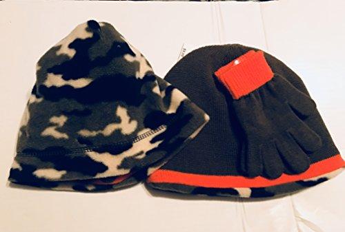 Winter Originals Reversible Camo Khaki Green Hat and Glove Set