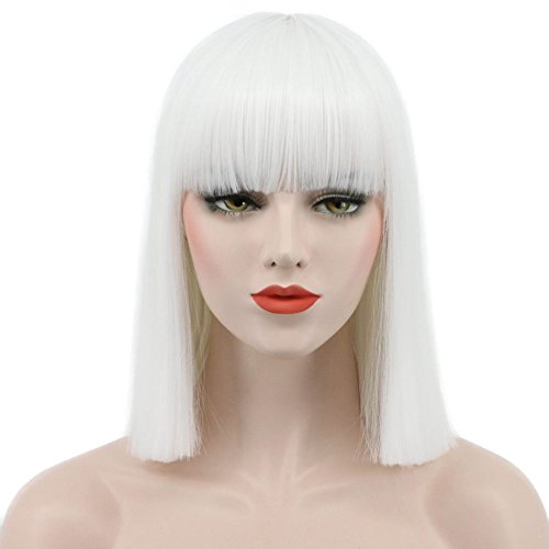 Karlery Women Straight Short Bob White Wig Flat Bangs Halloween Costume Wig Anime Cosplay Wig(White) -