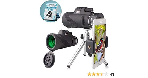 Camping Hiking Concert. QMEET 12x42 Zoom Monocular Telescope BAK4 Prism Monocular with Smartphone Holder /& Tripod Travelling Waterproof Fog HD Monocular Scope for Bird Watching Hunting