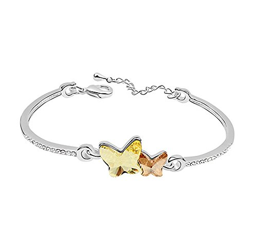 Acefeel White Gold Plated Swarovski Crystal Elements Yellow Butterfly Bangle Bracelet Women's Jewerly B042