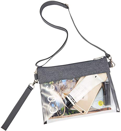 Clear Crossbody Purse Bag – Stadium Approved Clear Tote Bag with Adjustable Shoulder Strap (Grey)