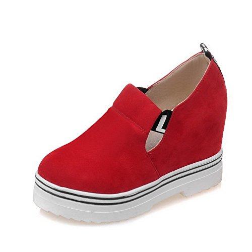 Allhqfashion Damesmengsel Materialen Rond Dichte Teen Hoge Hakken Diverse Kleuren Pumps-schoenen Rood