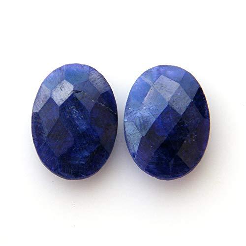 Surbhi Crafts Blue Sapphire Beryl Cabochon Pair 22ct Oval Shape Blue Beryl 18x13x5mm, K-3891 by Surbhi Crafts