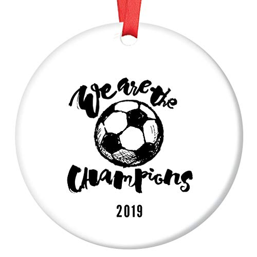 (Soccer Champions Christmas Ornament 2019 Youth Adult League Ceramic Keepsake Present for Soccer Team Players Coach Match Championship Winners 3