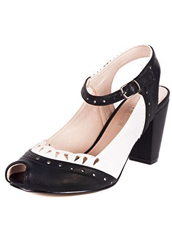 (Chelsea Crew Passion Vintage Inspired Scalloped Peep Toe Pump-Black/White-7)
