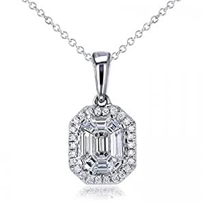 Amazon emerald cut diamond pendant necklace 14k white gold emerald cut diamond pendant necklace 14k white gold 050ct aloadofball Choice Image