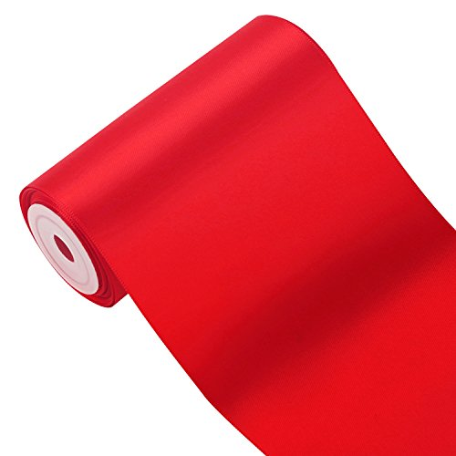 LaRibbons 4 inch Wide Solid Color Double Face Satin Ribbon, Opening Ceremony Ribbon, Great for Chair Sash- 5 Yard/Spool (Red)