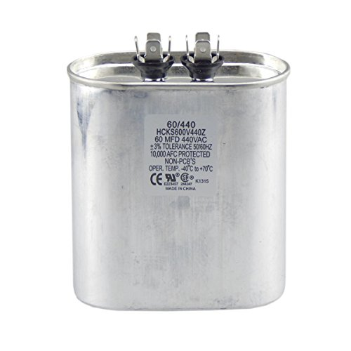 60 mfd Capacitor, Industrial Grade Replacement for Central Air-Conditioners, Heat Pumps, Condenser Fan Motors, and Compressors. Oval Multi-Purpose 370/440 Volt - by Trade Pro by TradePro (Image #1)