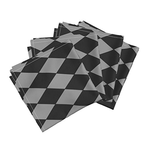 Roostery Grey Pewter Black Blackmail Diamonnds Harlequin Geometric Organic Sateen Dinner Napkins Grey Harlequin ~ Pewter and by Peacoquettedesigns Set of 4 Dinner Napkins