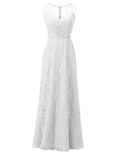 Party Dresses Maxi Wedding Women's Gowns Long Lace ALAGIRLS Floral Bridesmaid Ivory qtSwx80XA