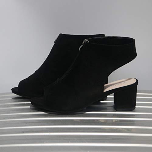 2197bece84769 Chunky Heel Sandals for Women Cutout Peep Toe Zipper Front Pumps ...