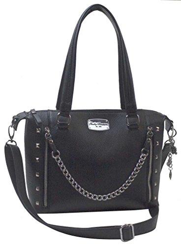 Harley-Davidson Women's Chain Gang Leather Satchel Purse, Black CG2325L-BLACK