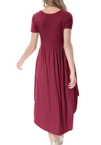 Loose Swing Casual Scoop wine 01 levaca Pleated Low High Pockets Midi Dress Women's Neck Hw0FSq