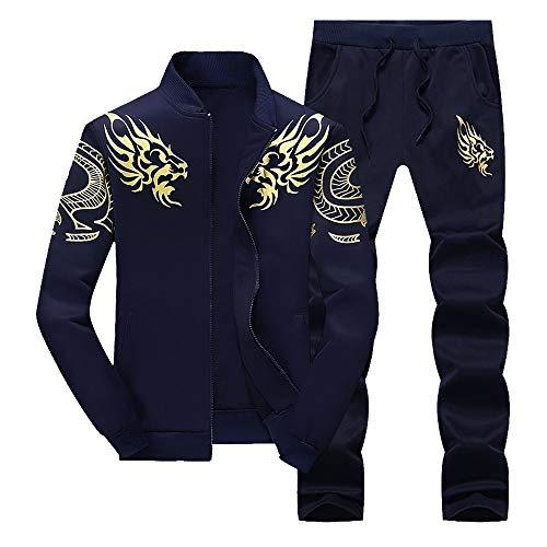 Hiver De Ensemble Sportswear Sport Survêtement Hommes Pantalons Ensembles Costume Imprimés Automne Tops Bleu Foncé Lettres Sweat Lianmengmvp wfCBt