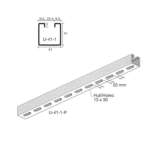 Oglaend Uno Slotted Channel Stainless Steel 41X41 mm 1 meter length (As Unistrut P1000T) Pack Size : 1