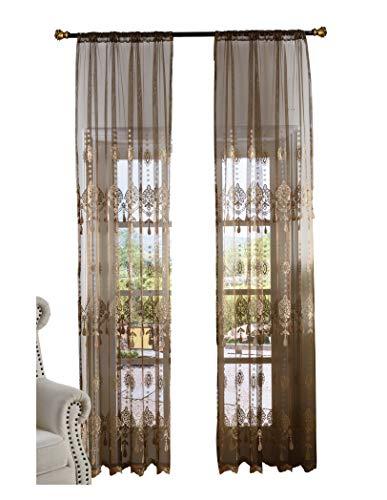 BW0057 Cortinas elegantes de estilo rural americano, con diseño floral, para sala de estar, recámara y habitación de...