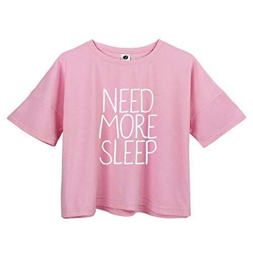 YITAN Womens Fashion Funny Tees Graphic Loose T shirt Cute Relaxed Split Crop Top