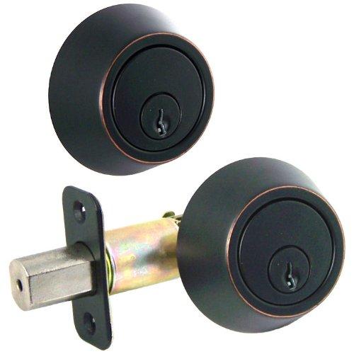Designers Impressions Oil Rubbed Bronze Double Cylinder Deadbolt Kwikset Keyway (We Key Lock Orders Alike for Free)