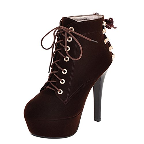 Booties Women's Stiletto Heels Platform Nonbrand Boots Heel Brown Ankle High C8WdYq