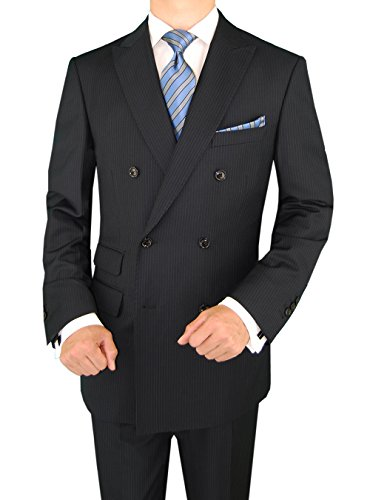 Valentino 2 Piece - Gino Valentino 2 Piece Men's Double Breasted Ticket Pocket Stripe Suit (40 Regular US / 50R EU/W 34